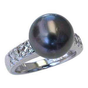 真珠パール リング タヒチ黒蝶真珠 PT900 プラチナ ダイヤモンド 16石 0.36ct 真珠の径 10mm グリーン系 6月誕生石 指輪