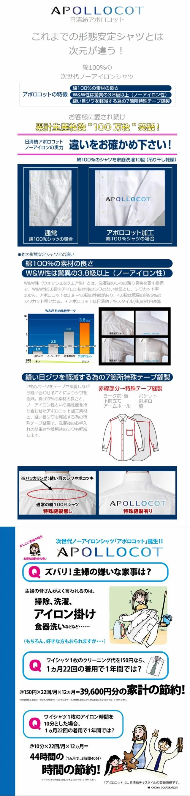 CHOYASHIRT FACTORY(シャツファクトリー)綿100%次世代ノーアイロン『日清紡アポロコット』の説明