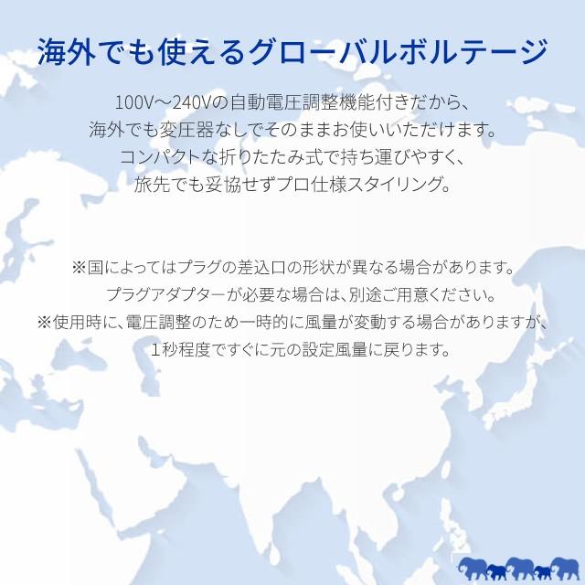 ドライヤー モイスト ヘアドライヤー Kozou ヘアケア 赤外線LED マイナスイオン Areti (アレティ) d1621WH/海外対応 海外兼用