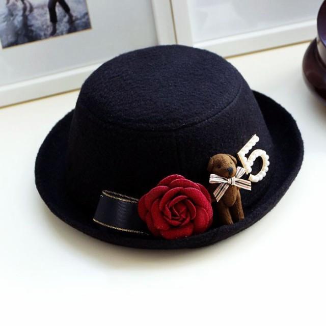 e5350f2694426 飾り帽子 子供 帽子 ハット キャップ 花飾り フェルト キッズ お出かけ ...