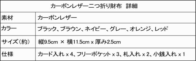 カーボンレザー二つ折り財布 詳細