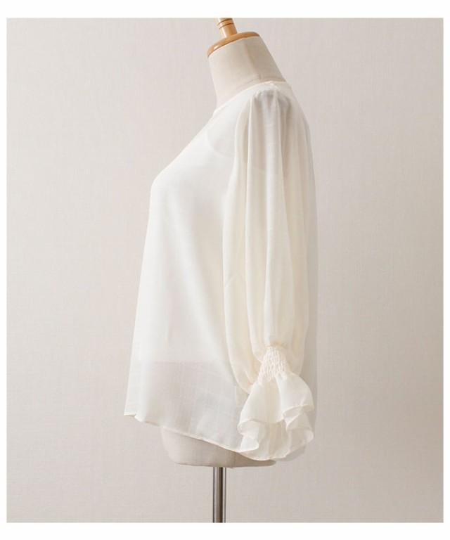キャミソール付きふんわり袖のシフォンブラウス【2月24日8時販売新作】