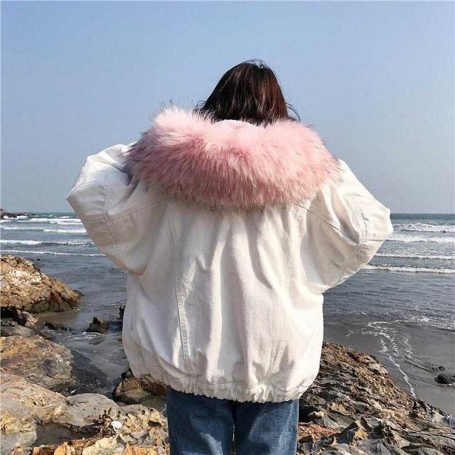 レディース デニムジャケット フード付き 裏ボア エコファー フェイクファー ジージャン アウター M L サイズ 送料無料