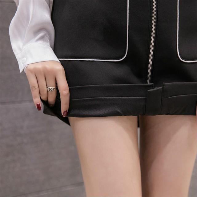 レディース ミニスカート ジッパー ハイウエスト タイト 台形スカート ミニ丈 膝上丈 ブラック ホワイト ブルー S M L XL 送料無料