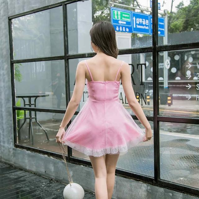 レディース ワンピース ドレス ふわふわ レース リボン ノースリーブ ミニ丈 膝上丈 結婚式 フォーマル S M L サイズ 送料無料