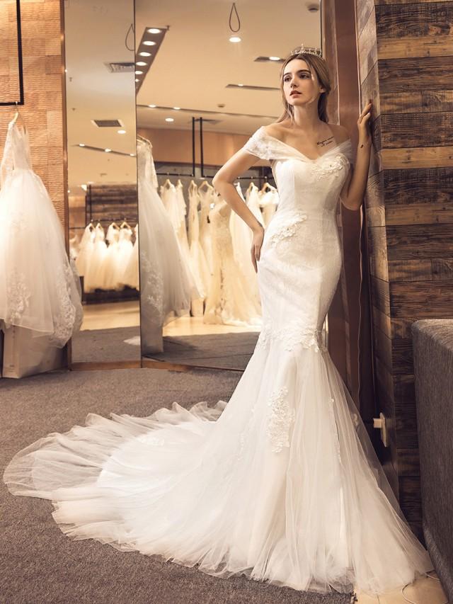 32ab63ba04db3 大人気 オフショルダー ウェディングドレス 白 二次会 花嫁 カラードレス 大きいサイズ ウェディング 白 ワンピース ドレス ロングドレス