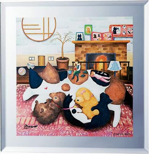 取寄品 なかの まりの 動物画 ミラーアート HOME インテリア雑貨