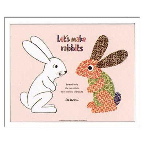 取寄品 送料無料 レオ レオニ Leo Lionni インテリア アート Kids Art Let's make rabbits 額付き子供部屋インテリ