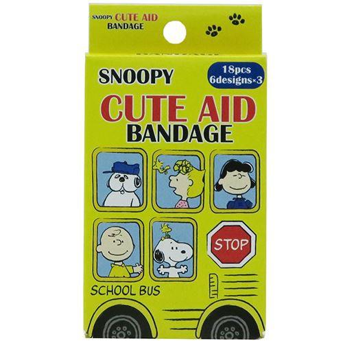 スヌーピー 絆創膏 キャラ ばんそうこう BOX バス柄 ピーナッツ キャラクターグッズ メール便可
