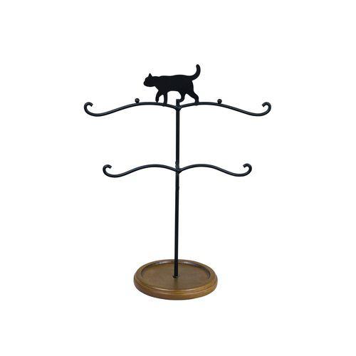 取寄品 アクセサリー 収納 黒猫 アクセサリースタンド トレー付き ねこ 雑貨 かわいいインテリア通販