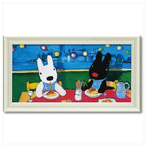 取寄品 送料無料 リサとガスパール フレンチ アート 額付ポスター アート フレーム L ワイド だいすきなスパゲッティ