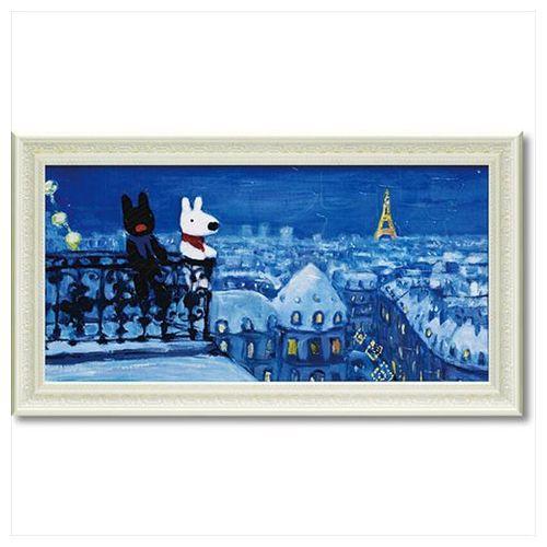 取寄品 送料無料 リサとガスパール フレンチ アート 額付ポスター アート フレーム L ワイド パリの天窓から