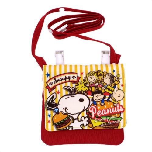 スヌーピー クリップポーチ 紐付きポケットポーチ ハンバーガー ピーナッツ キャラクターグッズ通販 メール便可