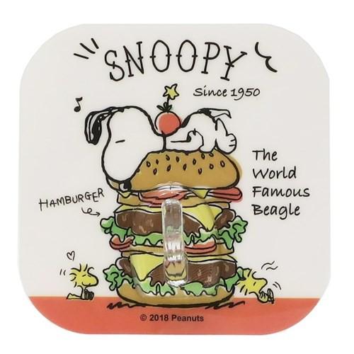 スヌーピー 壁掛けフック ウォール シート フック ハンバーガー ピーナッツ 耐荷重2kg キャラクター グッズ メール便可