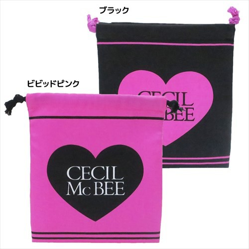 セシルマクビー 巾着袋 きんちゃくポーチ ハートロゴ CECIL McBEE 18×20.5cm レディースブランド グッズ メール便可