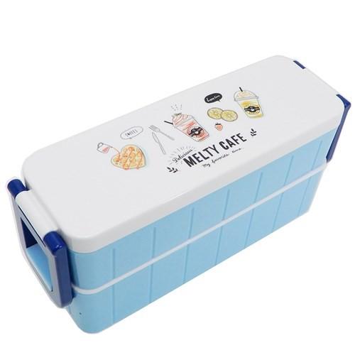 MELTY CAFE お弁当箱 箸付きスリム2段ランチボックス ブルー 300ml 330ml 日本製 グッズ