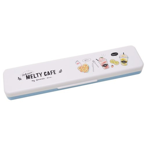 MELTY CAFE ツインセット お箸&スプーンセット ブルー ランチ雑貨 日本製 グッズ メール便可