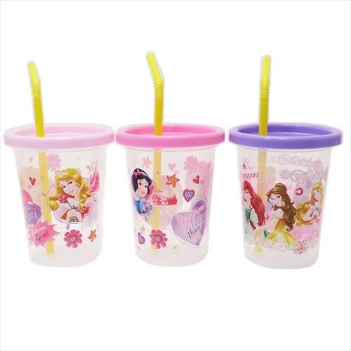ディズニープリンセス プラカップ ストロー付タンブラーS 3個セット Princess 19 ディズニー 230ml×3 キャラクター グッズ