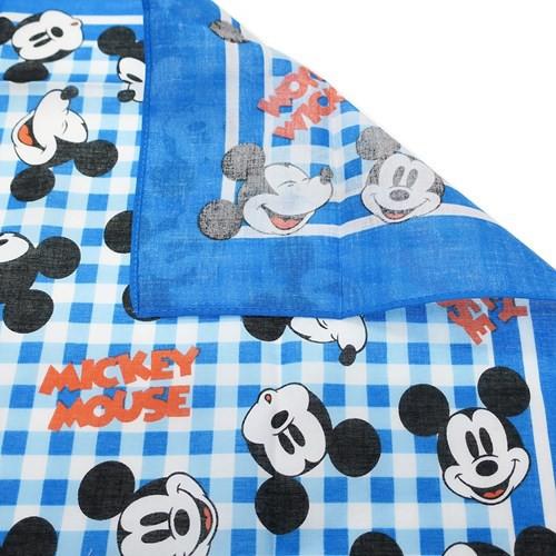 ミッキーマウス 大判 ハンカチ バンダナ ギンガムフェイス ディズニー 53×53cm キャラクター グッズ メール便可