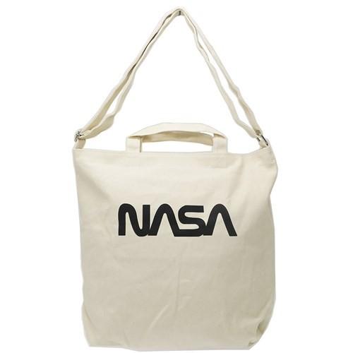 NASA ショルダーバッグ シルクプリント トートバッグ ワーム ロゴ 宇宙 2WAY 斜め掛け かばん ファッション グッズ