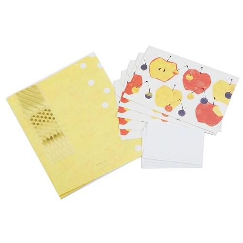 レターセット Tomoko Hayashi お手紙セット 旬果 アップルミックス 便箋 封筒 ガーリーイラスト グッズ メール便可