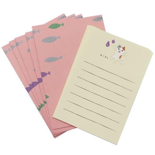 ねこまた レターセット おばけ箋 ばけこものシリーズ 藤並うずら 封筒 便箋 おもしろ 雑貨 グッズ メール便可