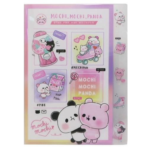 もちもちぱんだ ファイル ダイカット 5インデックス A4 クリアファイル カラーテーマ ピンク 新学期準備雑貨 キャラクター グッズ