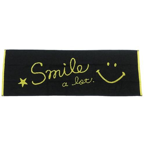 スマイリーフェイス マフラータオル タオルバンド付き スリム ロングタオル ロゴ 31×90cm キャラクター グッズ