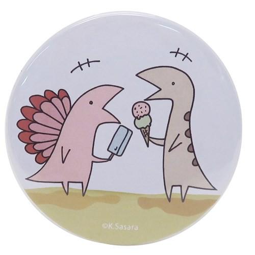 恐竜のいる毎日 缶バッジ ビッグカンバッジ 2アイス LINEスタンプ 54mm キャラクター グッズ