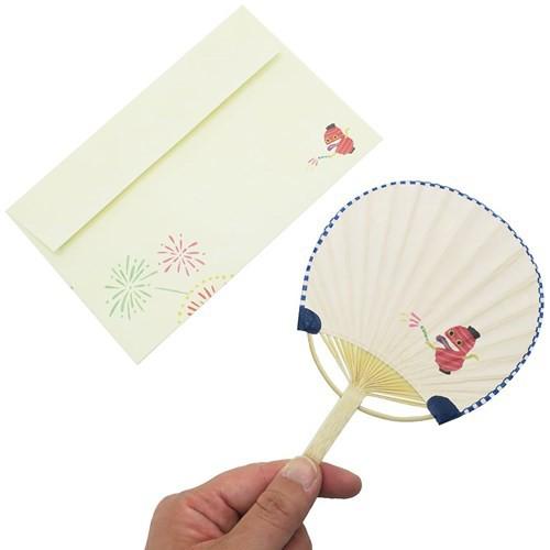 ちょうちんおばけ サマーカード 一筆箋付き ミニ竹うちわカード ばけこものシリーズ 暑中見舞い 日本製 グッズ メール便可