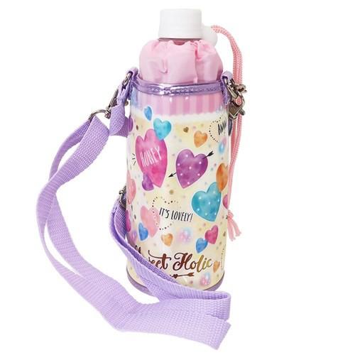 ペットボトルホルダー ハート 保冷 ボトルケース ショルダーストラップ付き 女の子向け グッズ