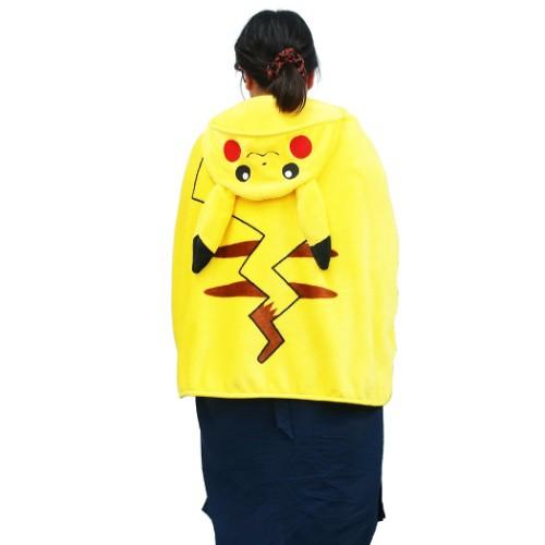 ポケモン 3way フード付き ブランケット ひざ掛け 毛布 ピカチュウ ポケットモンスター 70×90cm キャラクター グッズ