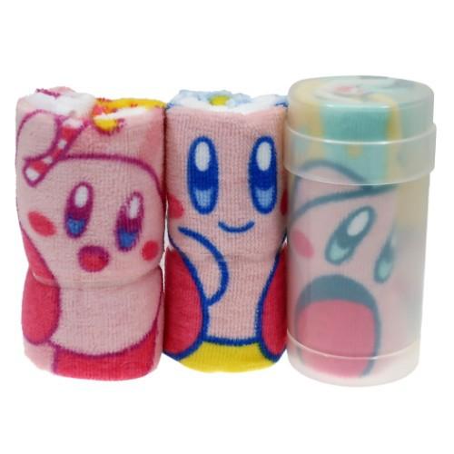 星のカービィ ハンドタオル 円筒ケース付き ハンカチタオル 3枚セット わくわくカービィ Nintendo 30×30cm キャラクター グッズ