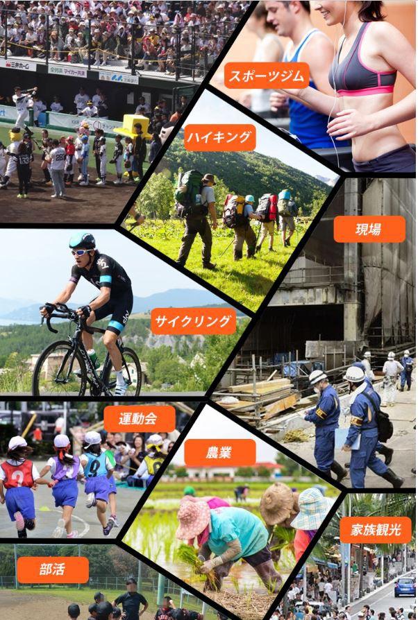 部活 家族観光 農業 運動会 サイクリング 現場 ハイキング スポーツジム スポーツ 観戦