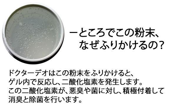 カーメイトのドクターデオは、この粉末をふりかけるとゲル内で反応し、二酸化塩素を発生させます。この二酸化塩素が、悪臭や菌に対し、積極付着して消臭と除菌を行います。