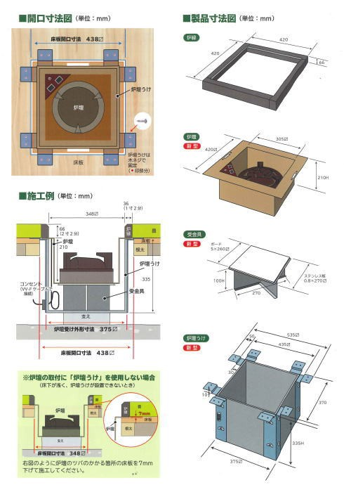 ヤマキ電器 4点セット 電器炭 炉壇 炉色仕上げ YU-604&炉壇受け 内側コンセント付 YU-614&受金具 ボード付 YU-615&炉縁 掻合 (電器炭を取り外して炭用としても使えます)