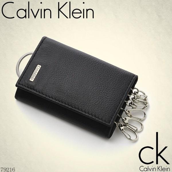 キーケース メンズ Calvin Klein 牛革 ロゴプレート 6連キーフック イメージ写真01