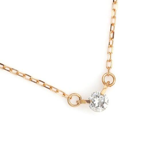 ダイヤモンド 0.10ct 2点留め 一粒ネックレス K10PG ピンクゴールド/送料無料