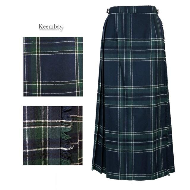 O'Neil of Dublin オニールオブダブリン 83cm ウールミックス キルト スカート キルティング タータンチェック ラップスカート 巻きスカート ひざ下丈 マキシ 5083