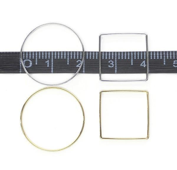 チャームとしても使える、薄いフレームパーツ4型 Round Frame&Square Frame★枠四角&丸