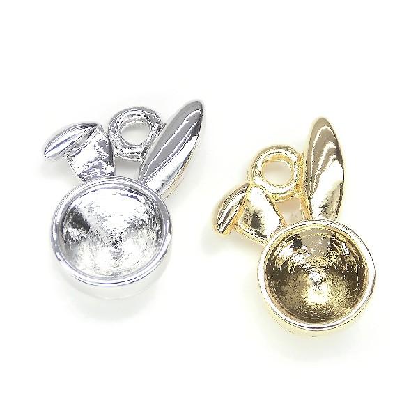 ★クリスタルチャーム★cat&rabbit 空枠フレーム台座★K16GP&本ロジウム