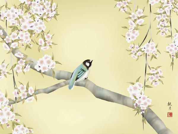 森山観月「桜花に小鳥」