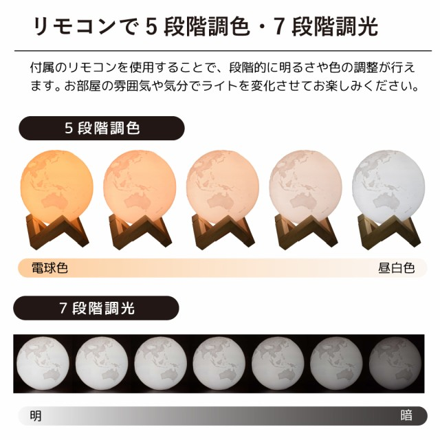 リモコンで5段階調色、7段階調光が可能
