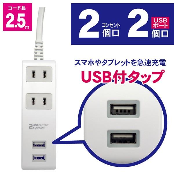 2個口 コンセントタップ&USB充電 2ポート 急速充電2.4A 延長コード2.5m 合計1400Wまで