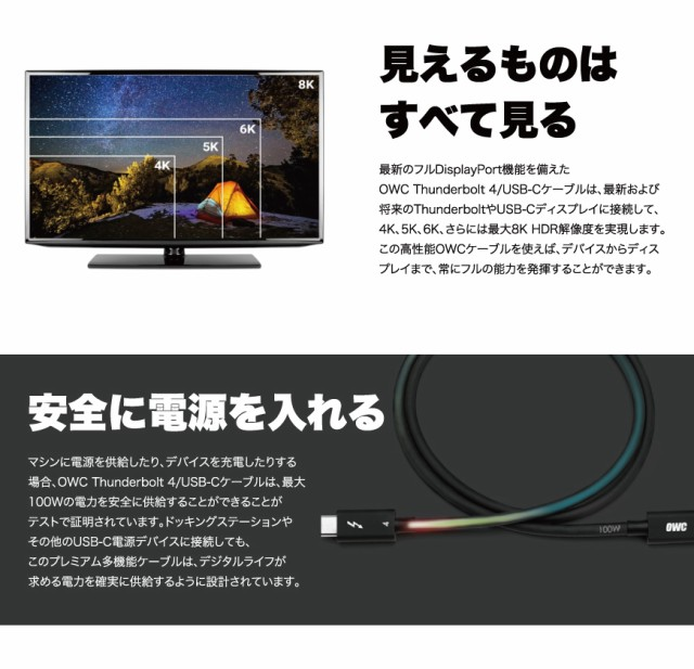 OWC Thunderbolt 4 / USB-C Cable 説明4